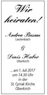 Anzeige Hochzeit Denis und Andrea
