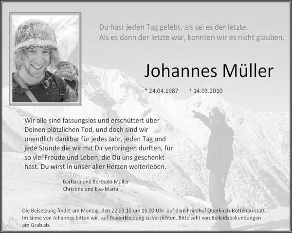 Johannes Müller Todesanzeige Johannes Müller